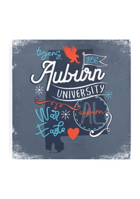 Image One Ncaa Auburn Tigers 9X9 Canvas Wall Art State Doodles