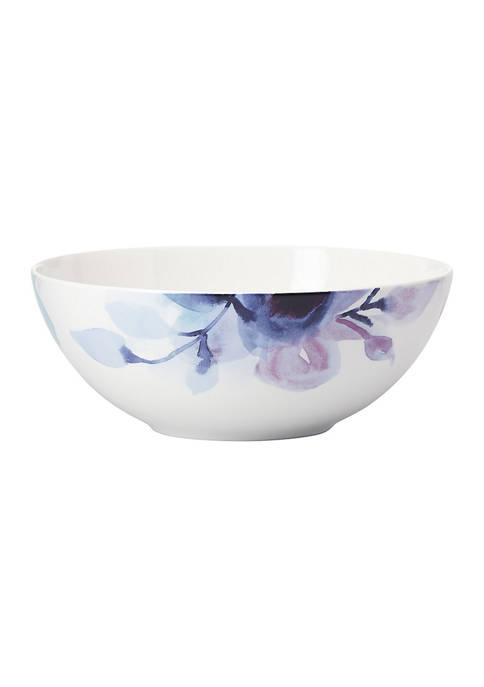 Indigo Watercolor Floral Medium Serving Bowl