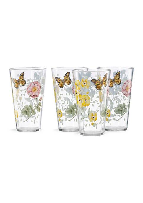 Butterfly Meadow Acrylic 4-Piece Highball Glass Set