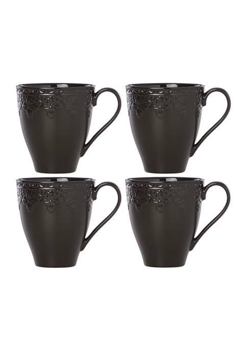 Lenox® Chelse Muse Fleur Matte Black 4-Piece Mug