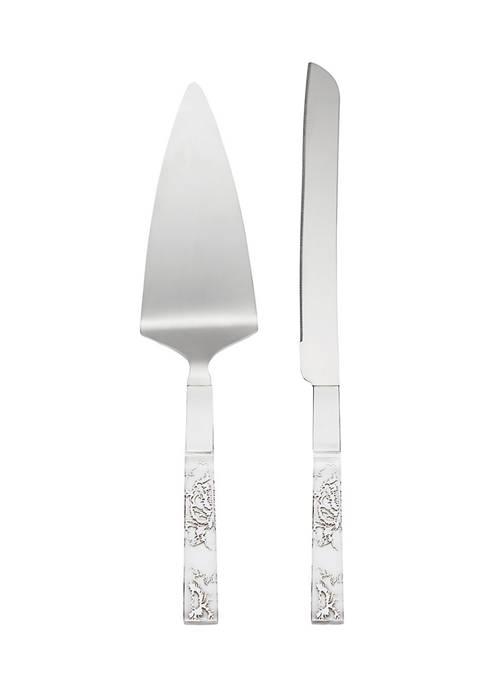 Lenox® Silver Peony 2-Piece Dessert Set