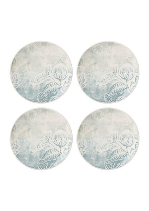 Textured Neutrals Floral 4-Piece Accent Plate Set