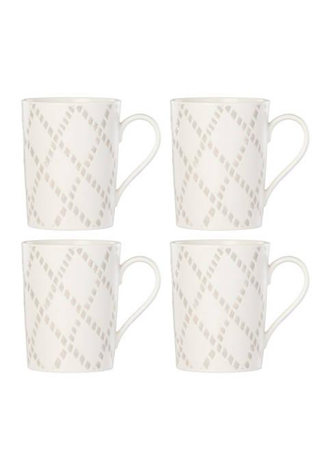 Lenox® Textured Neutrals Lattice 4-Piece Mug Set
