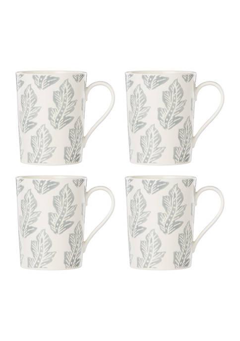 Textured Neutrals LeafSet of 4 Mugs