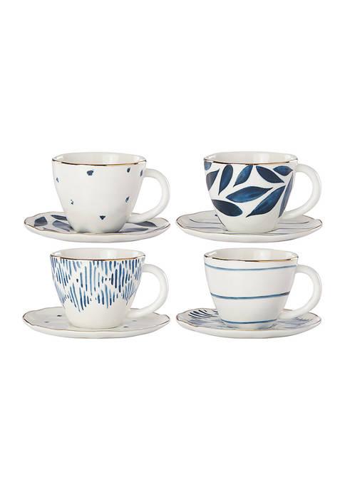 Blue Bay 8--Piece Espresso Cup & Saucer Set