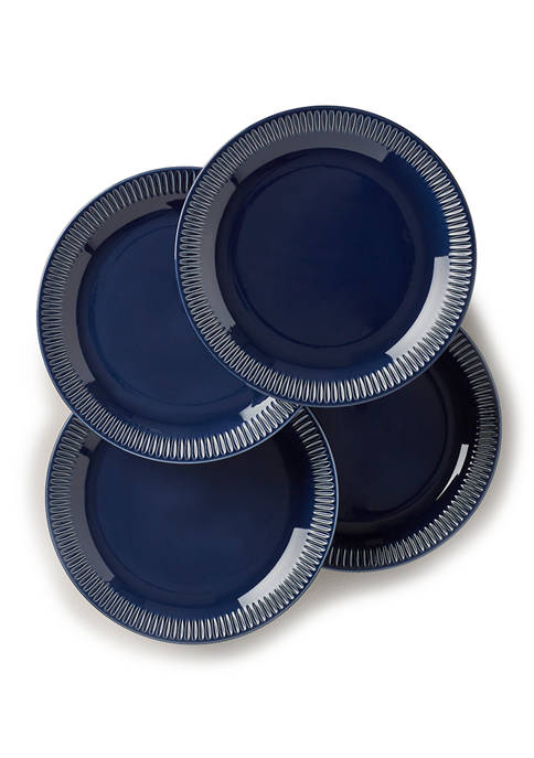 Profile Navy Stoneware Set of 4 Accent Plates
