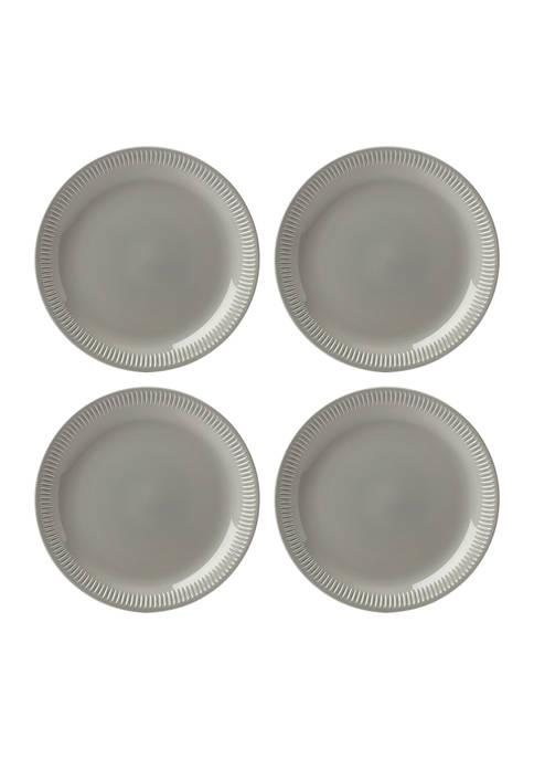 Profile Gray Stoneware Set of 4 Dinner Plates