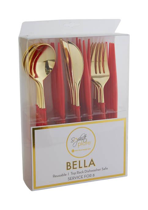 Bella Cutlery Gold/Red Handle