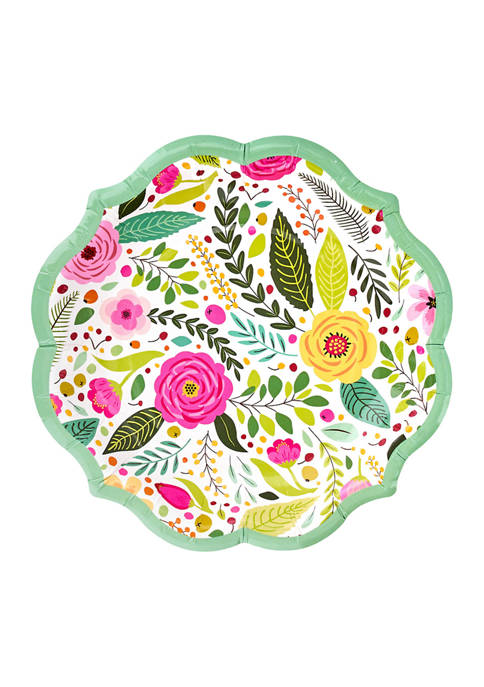 Set of 8 Blossoms Disposable Dessert Plates