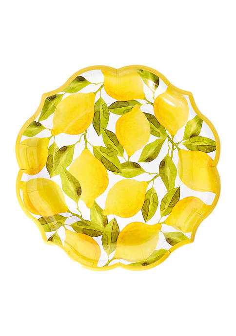 Set of 8 Lemons Disposable Dinner Plates