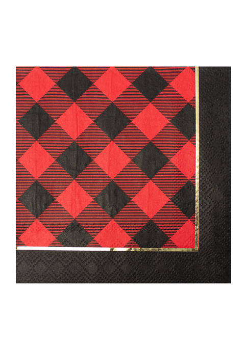 Holiday Buffalo Set of 20 Disposable Paper Cocktail Napkins