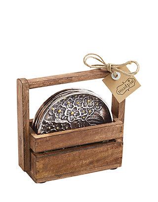 Mud Pie 5 Piece Hydrangea Coaster Set With Wood Holder Belk