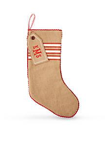 mud pie 19 in striped burlap stocking - Mud Pie Christmas Home Decor