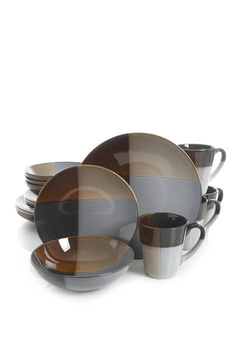 Gibson Convergence Gray 16-Piece Dinnerware Set