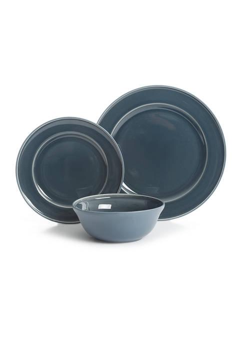 Martha Stewart Blue 12 Piece Dinnerware Set