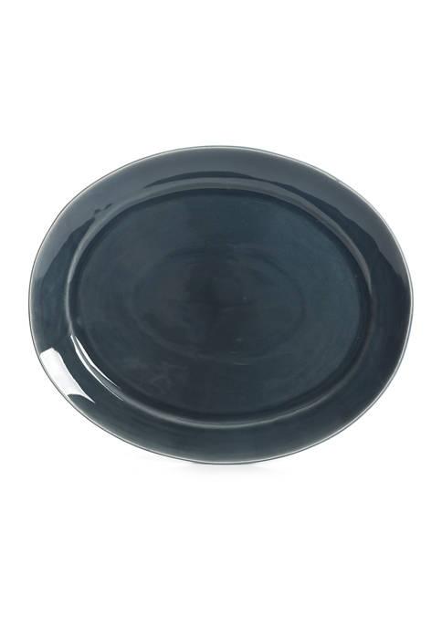 Blue Reactive Glaze Oval Serving Platter