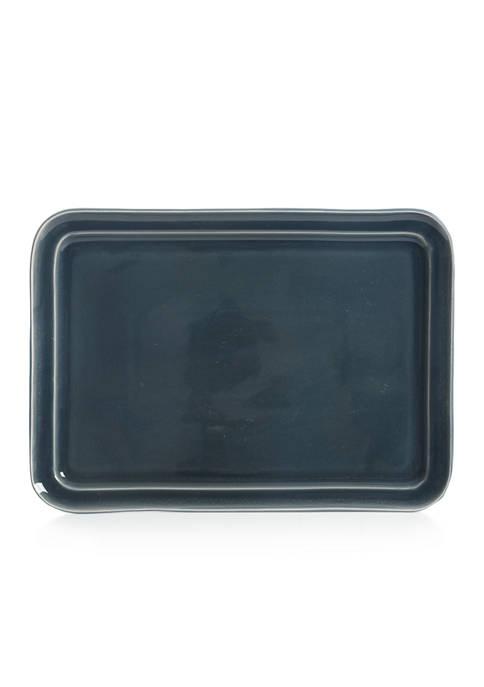Blue Reactive Glaze Rectangular Serving Platter