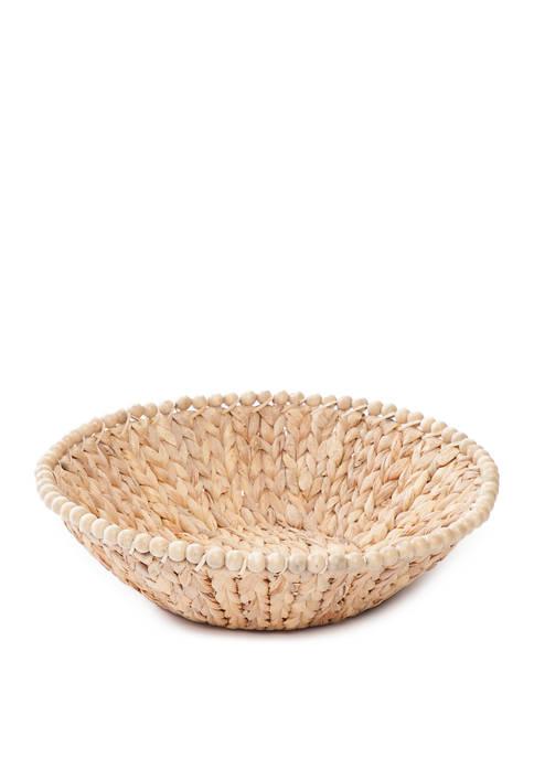 Gibson Wooden Bead Round Straw Bowl