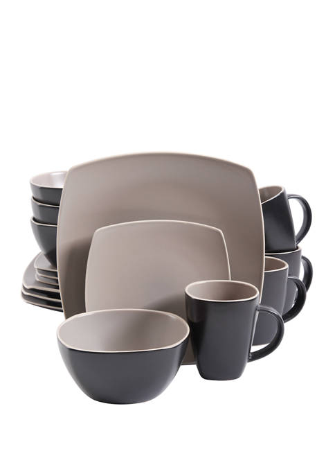 Soho Lounge Taupe Matte 16 Piece Dinnerware Set