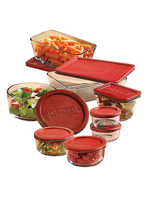 Anchor Hocking 16 pc Storage Set with Red