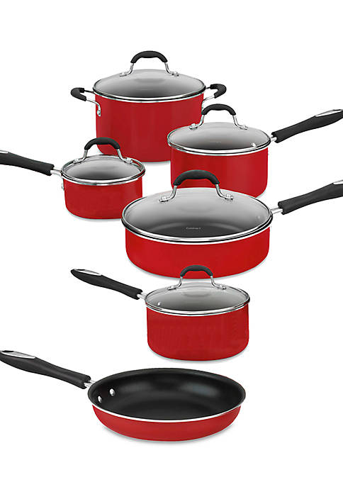 Cuisinart Advantage Nonstick Aluminum 11-Piece Red Cookware Set