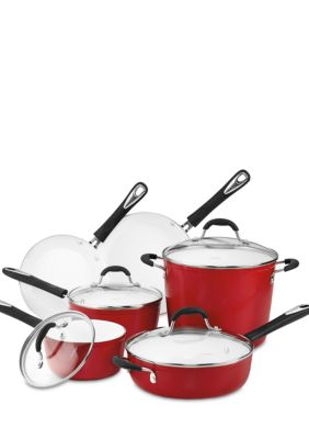 Cuisinart Elements Nonstick Ceramic 10 Piece Red Cookware Set Belk