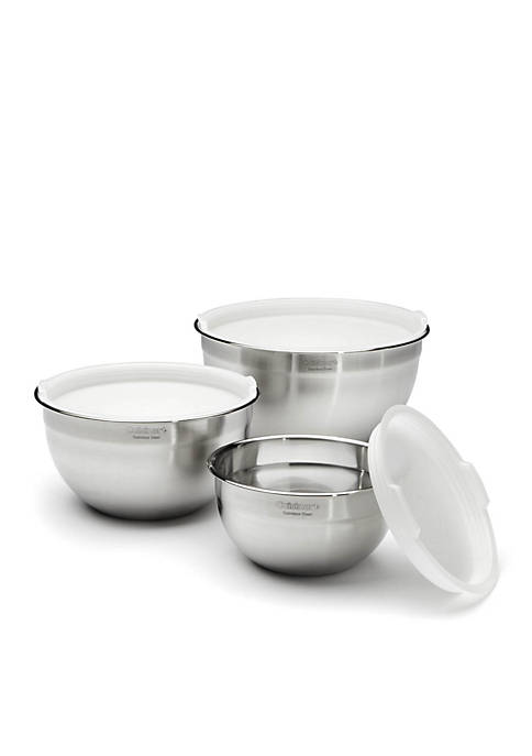 Set of 3 Stainless Steel Mixing Bowls with Lids