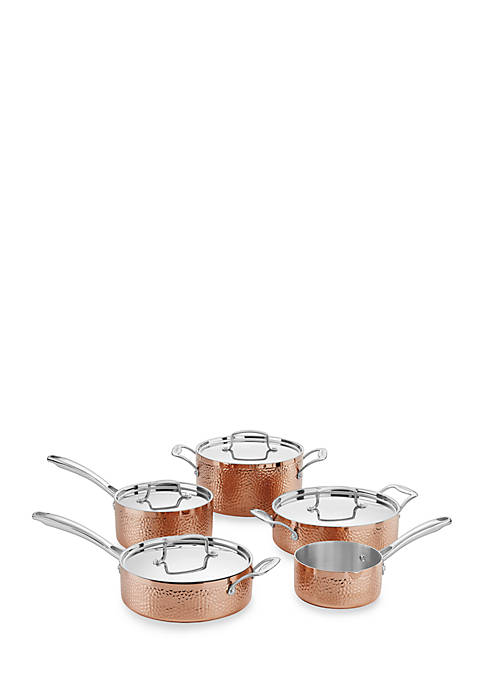 Cuisinart 9-Piece Hammered Copper Tri-Play Cookware Set