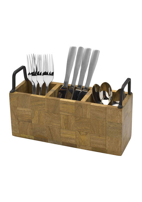 Avery Checkered Wood Flatware Caddy