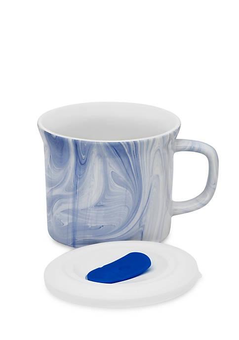 Corningware Blue Marble Mug w/ Vented Plastic Lid-