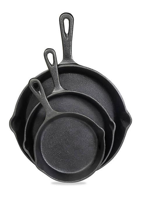 3-Piece Cast Iron Fry Pan Set