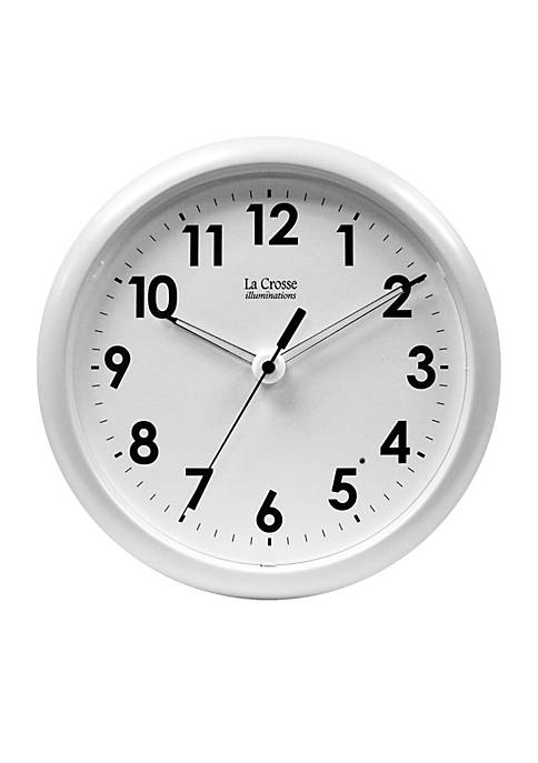 Illuminated 10 Inch White Frame Clock