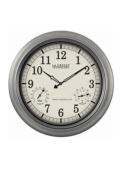 18-in. Indoor Outdoor Thermometer and Hygrometer Wall Clock