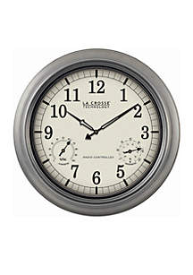 18-in. Indoor Outdoor Thermometer and Hygrometer Wall Clock - Online Only