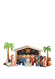 Traditional Wooden Nativity Set