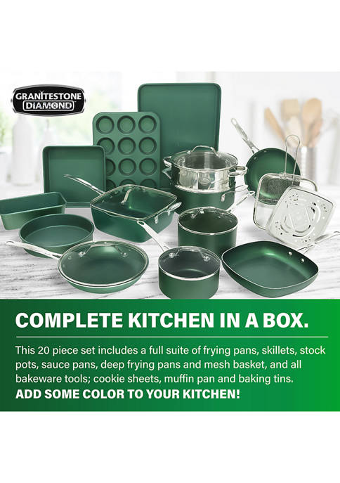 20 Piece Mineral And Diamond Infused Nonstick Cookware and Bakeware Set