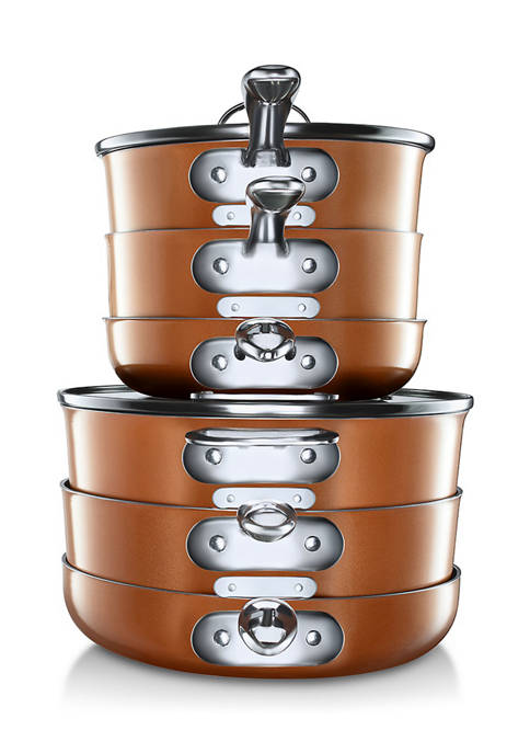 Gotham Steel 15-Piece Stackmaster Space Saving Stackable Cookware
