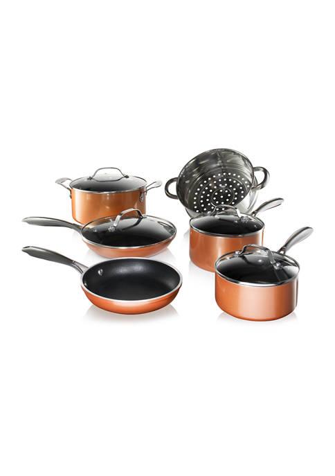 Gotham Steel 10-Piece Copper Cast Texture Nonstick Cookware