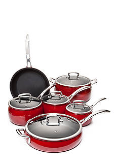 Biltmore® 11-Piece Cabernet Nonstick Glazed Aluminum Belly Cookware Set