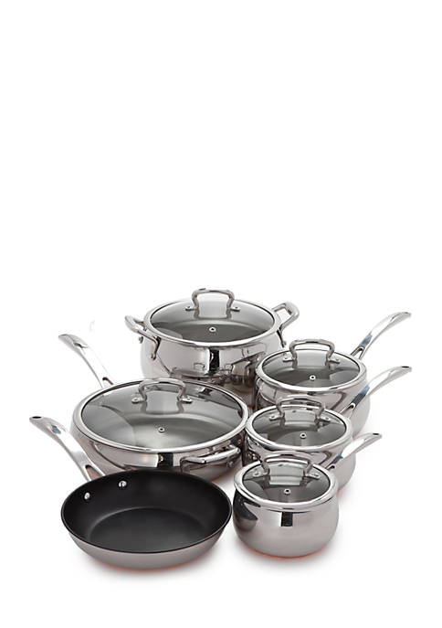 Belly Shaped Copper Bottom 11-Piece Cookware Set