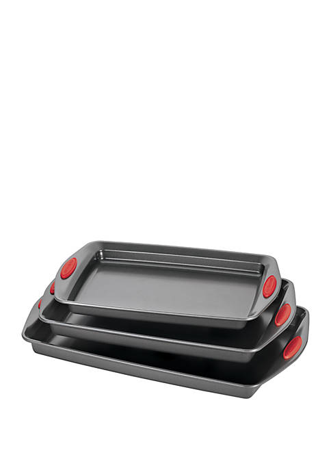 Nonstick Bakeware Cookie Pan Gray with Silicone Grips- Set of 3