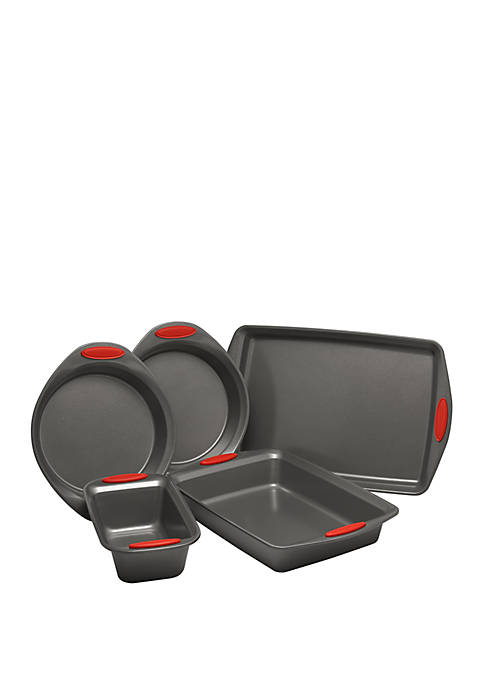 Yum-o! Nonstick Oven Lovin Bakeware Set, Gray with Marine Blue Handles, 5 Piece Set