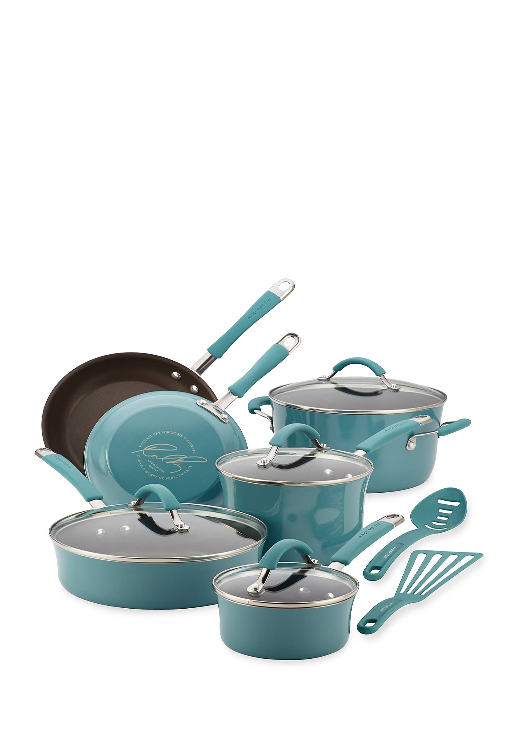 Rachael Ray Cucina Hard Enamel Nonstick 12-Piece Cookware Set, Agave ...