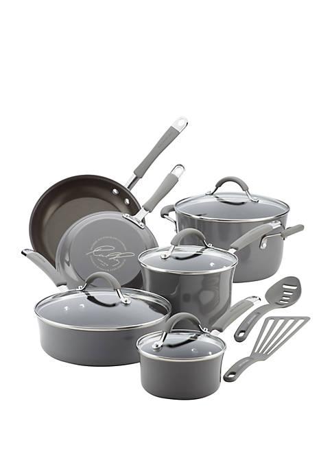 Cucina Hard Porcelain Enamel Nonstick Cookware Set, 12 Piece, Sea Salt Gray