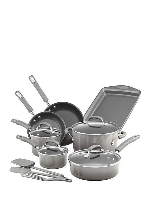 Classic Brights Porcelain Nonstick 14 Piece Cookware Set with Bakeware and Tools, Sea Salt Gray