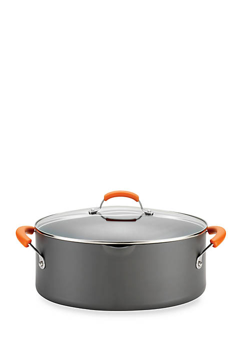 Hard-Anodized Nonstick 8-qt. Covered Oval Pasta Pot with Pour Spout