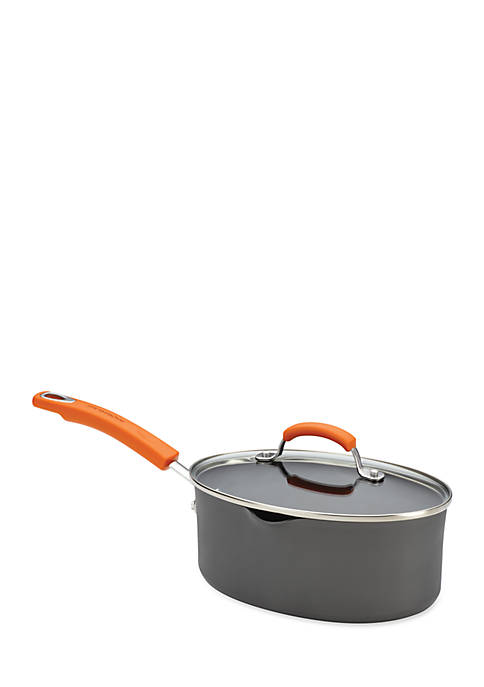 Hard Anodized II 3-Qt. Covered Oval Saucepan with Two Pour Spouts