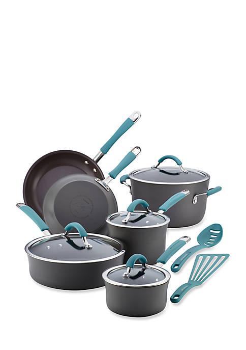 Cucina Hard Anodized Aluminum Nonstick Cookware Set, 12 Piece, Gray, Agave Blue Handles