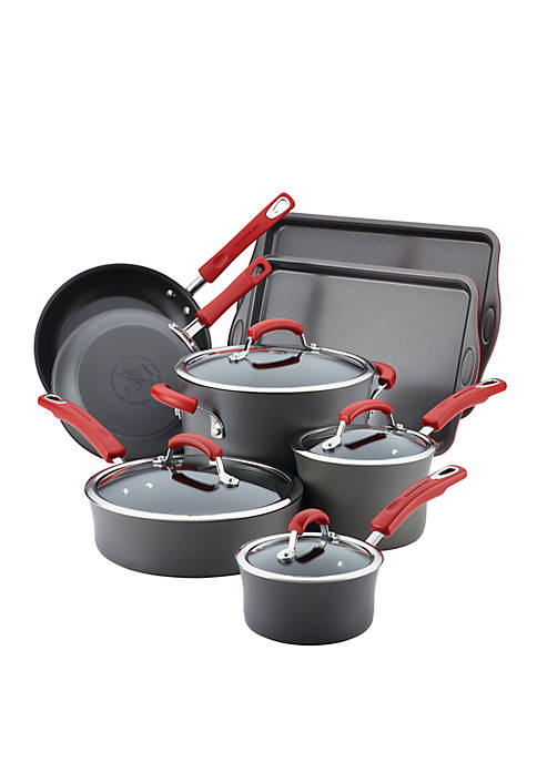 Hard Anodized Nonstick 12 Piece Cookware Set, Gray with Red Handles