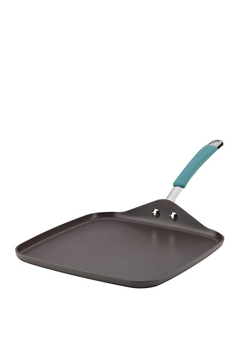 Cucina Hard Anodized Nonstick Shallow Square Griddle, 11 in, Gray with Agave Blue Handle